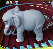 Lovely Wild Elephant Key Chain Ring with LED Light and Animal Sound Child Toy