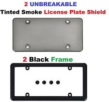 2 UNBREAKABLE Tinted Smoke License Plate Shield + 2 Black Frames for Cars