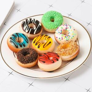 Set of 6 Real Touch Artificial Mini Donuts - Fake Sweets Cake Bread Doughnut