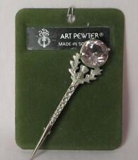 Brooch, Pale Amethyst, 8cm, with tags Art Pewter, Scottish Thistle Kilt Pin /