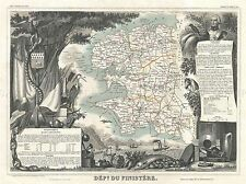 GEOGRAPHY MAP ILLUSTRATED ANTIQUE LEVASSEUR FINISTERE POSTER ART PRINT BB4374A
