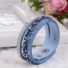 New Women Leather Wrap Wristband Cuff Punk Crystal Rhinestone Bracelet Bangle