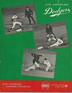 1965 Los Angeles Dodgers-Mets Program Koufax & Drysdale Dominate World Champs!!