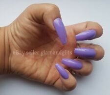 24 Hand Painted Gel False Nails - Lilac Purple - Coffin, Stiletto, Square, Oval