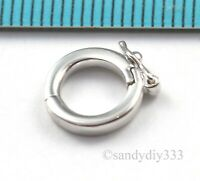 1x RHODIUM STERLING SILVER SHORTENER ENHANCER PENDANT ROUND CLASP 9.8mm #2469