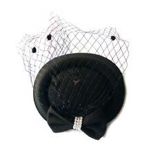 Women's Fascinators Hat Pillbox Hat Cocktail Party Hat with Dot Veil Bowkno R5M1