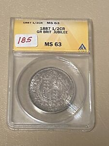 1887 Great Britain 🇬🇧  1/2C Half Crown 👑 Jubilee MS 63 SILVER Coin- *PRETTY!