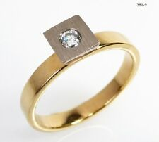 Ring Bandring Solitär Brillantring Diamant Damen - 585 Gold Gelbgold - 381-9