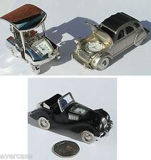 Silver Golf Cart clock, Silver Citroen 2CV clock. Black Cabriolet clock