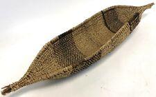 "Vintage 24"" African Ethiopian Gambela Native Woven Boat Canoe Gathering Basket"