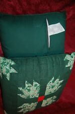 Vintage Christmas Green  Quilted Pillows (set of 2) NEW
