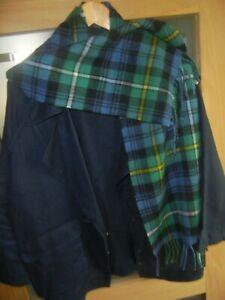 "Unworn Pure Wool Tartan Scarf Green And Blue Plaid. With Fringe 11 3/4"" x 52""."