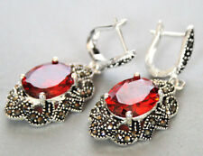 Vintage Faceted Red Ruby Gems Marcasite 925 STERLING SILVER Hook Dangle Earring
