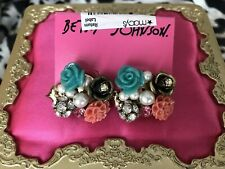 15dd7530b Betsey Johnson Turquoise Rose Coral Carved Flower Bouquet Pearl Cluster  Earrings