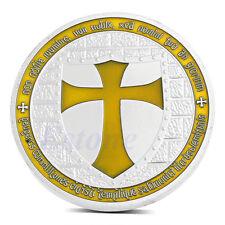 Knights Templar Silver Plated Europe Cross Token Souvenir Yellow Coin Collection
