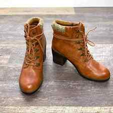 Mia brown ankle chunky heel lace up almond toe boots size 8.5 8 1/2