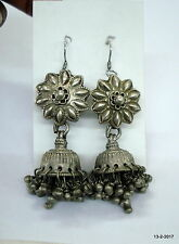 vintage antique ethnic tribal old silver earrings jumka belly dance jewellery