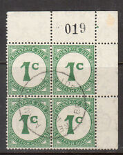 British Guiana #J1 Very Fine Used Corner Block With Plate O19