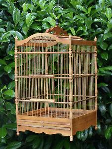 Vogelkäfig Bambus Holz Voliere Handarbeit Asia Design Käfig Holzkäfig Asiakäfig