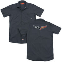 CHEVROLET THE CORVETTE MEDALLION Adult Men's Dickies Graphic Work Shirt SM-3XL
