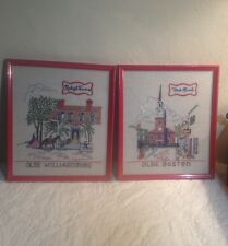 Framed Sampler Needlework Pair Lot, Olde Boston + Olde Williamsburg Needle Point