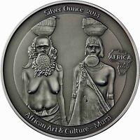 Kongo 1000 Francs 2014 Mursi Silver Ounces Antique Finish Silbermünze