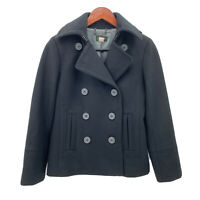 J. Crew Womens Size Petite XS Black 100% Wool Double Breasted Winter Coat Jacket