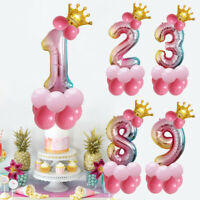 32 inch Crown Number Foil Balloon Digit Ballon Happy Birthday Party Decoration