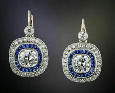 Art Deco Style Earrings Cocktail & 14K White Gold Over 2.7Ct Cushion Cut Diamond