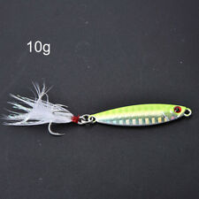 1pc metal jig fishing lure with feather 10g artificial bait freshwater jigg JX
