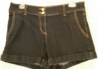 New York & Company Women's Dark Wash Denim Jean Shorts Size 6 Flap Pockets