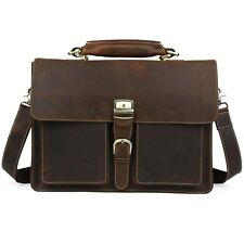 "Vintage Men Leather Briefcase 15.6"" Laptop Tote Business Messenger Bag Handbag"