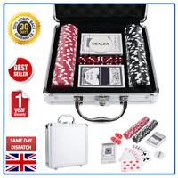 Poker Set 100 Piece Texas Poker Chip Set Dice Cards Casino Game Black