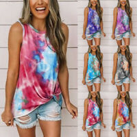 Women Summer Tie Dye Tank Vest Cami Ladies Sleeveless Tops Blouse T Shirt LIU9