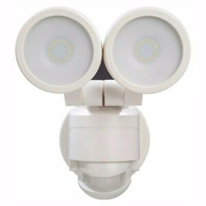 Defiant 180 White Motion Activated Outdoor LED Twin Head Flood Light