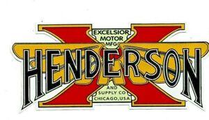 """HENDERSON MOTORCYCLES"" STICKER DECAL USA Indian Ariel BSA POPE DUCATI HONDA"