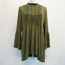 John Paul Richard Womens Top Crochet Trim Bell Sleeve Peasant Top Green XL $50