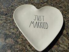 Rae Dunn Wedding Collection Heart Shape Shaped JUST MARRIED Plate Platter