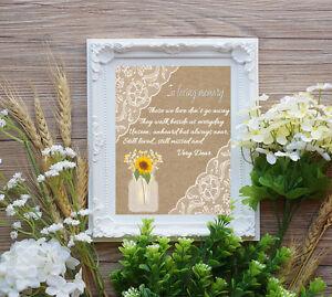 Wedding Table Sign - In Loving Memory Wedding Sign 8x10 Burlap  Lace & Mason Jar