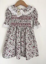 Aurora Royal Pretty Floral Smocked Baby Dress BNWT Size 12 Months 3/4 Sleeve