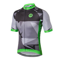 Black-Gray Men Pro Bicycle Bike Half Sleeve Cycling Jersey Clothing Shirt S-3XL