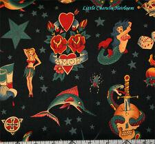 Alexander Henry Mermaid Tattoo Skull Goth Black Fabric BHY