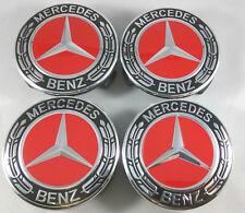 75MM Mercedes Benz Wheel Center Caps Emblem Black + Red + Chrome Hubcaps 4pcs