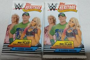 (2) 2018 Topps Heritage Wrestling WWE Trading Cards Factory Sealed Pack LOT