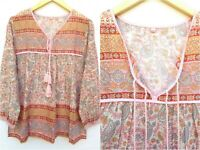 pink paisley printed cotton summer boho blouse top women's girls long sleeve