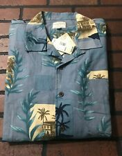 Trader Bay Button Front Short Sleeve Shirt Silk Men's Size Large