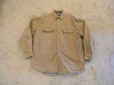 Men's Eddie Bauer Flannel Lined Shirt/Jacket Khaki Tall XL/XG 100% Cotton