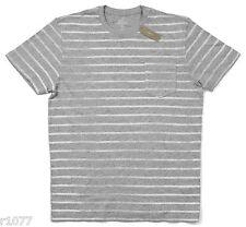 *NEW* J.Crew Men's Medium Textured Cotton T-shirt in Distressed Stripe - Gray