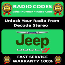 UNLOCK RADIO CODES CHRYSLER  JEEP DODGE T00AM T00BE TM9 RADIO CODES FAST SERVICE