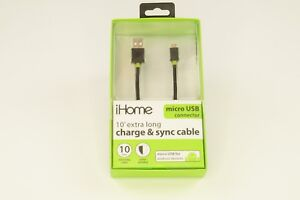 iHome iHome Nylon Braded Micro USB Cable (10ft.) - Data Cable - Retail Packaging